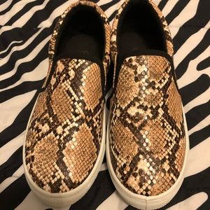 Snake print loafer sneakers